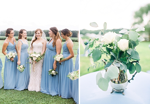 suffolk virginia military wedding blue bridesmaid dresses