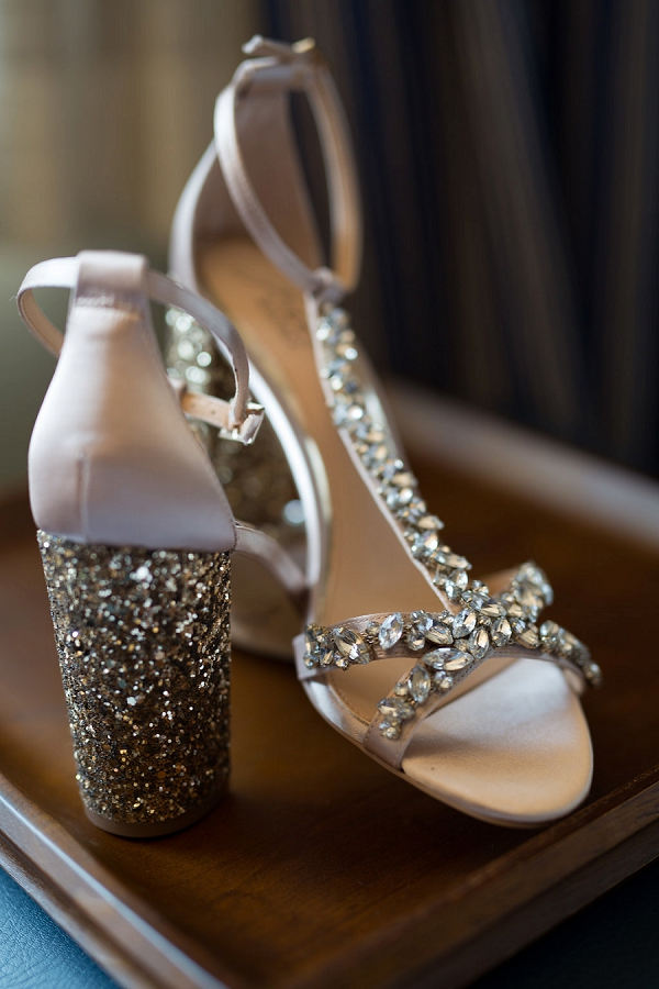 Sparkly gold Badgley Mischka bridal heels