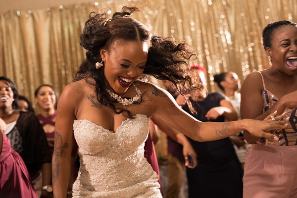 Amazing bride moment at wedding reception dancing