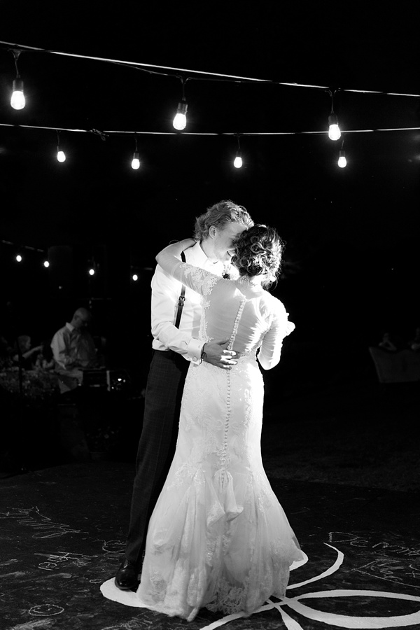 Rustic Virginia wedding of first dance under bistro lights