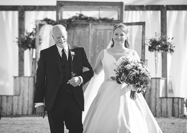 Bride and her dad walk down the aisle in Suffolk Virginia