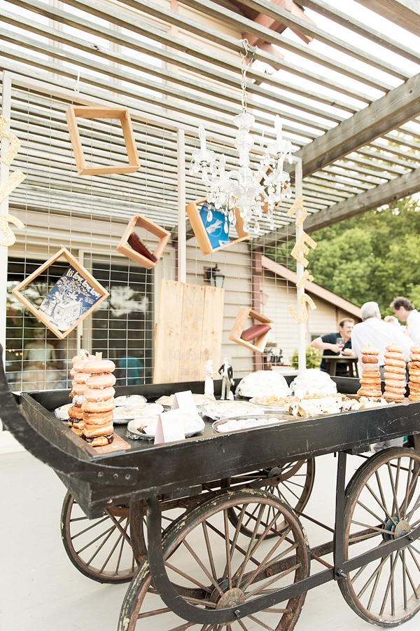 Fun eclectic dessert wagon for rustic wedding table