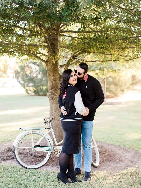 Romantic and retro engagement session in Virginia Beach park