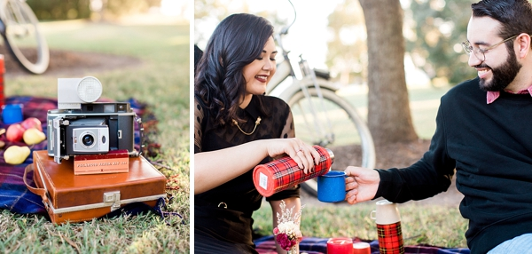 Vintage Thermos for cozy engagement session