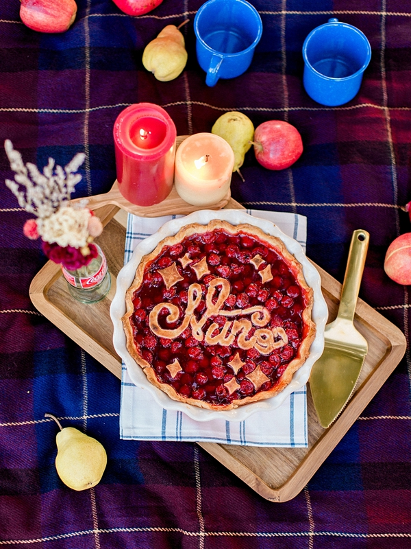 Hand lettered cherry pie for cute picnic engagement session
