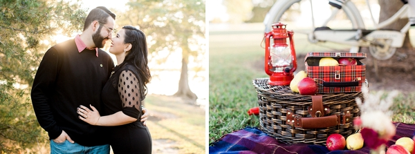 Metal lunch box filled with apples for retro inspired engagement session