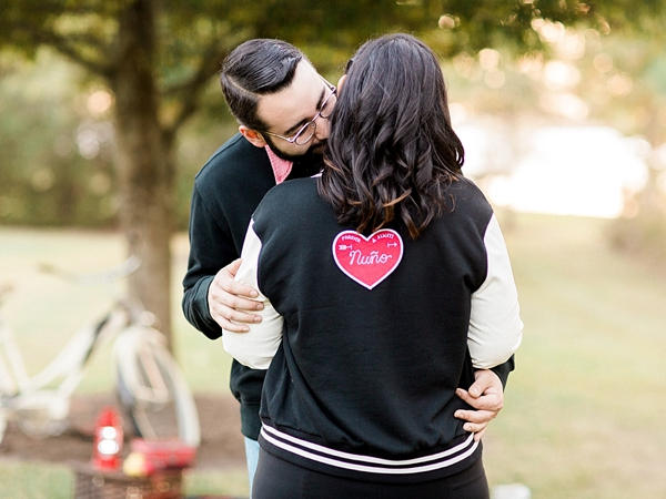 Adorable letterman jacket with personalized heart patch