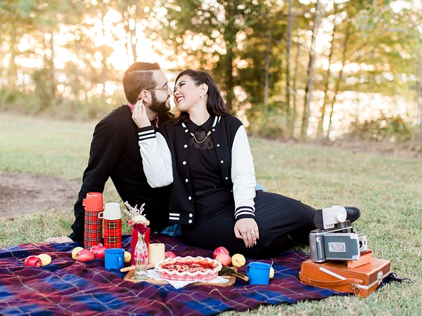 Retro chic picnic engagement session in Virginia Beach