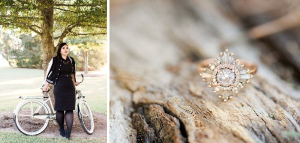 Gorgeous bride to be with letterman jacket and vintage bike
