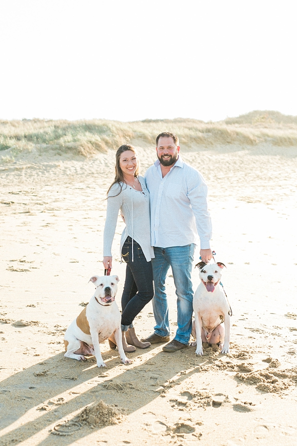 Adorable pitbulls in Virginia Beach engagement session