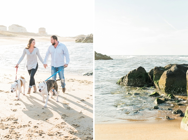 Adorable moment of couple walking on the beach with their dogs