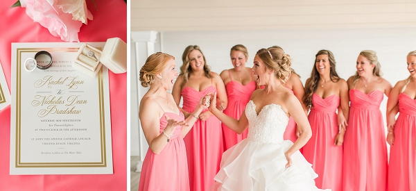 Bright pink coral bridesmaid dresses for beachfront wedding