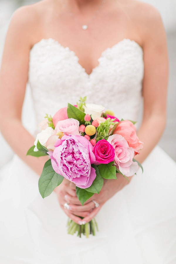 Small wedding bouquet with peonies and roses