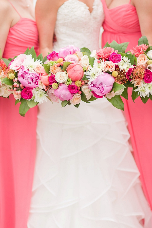 Bright pink wedding bouquets with peonies and roses