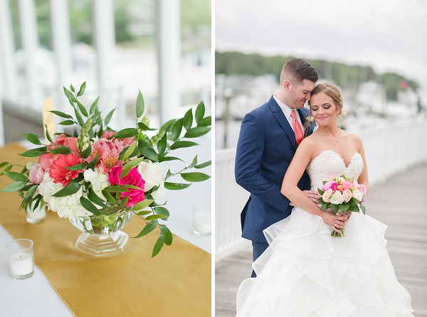 Cheerful wedding floral ideas with italian ruscus and roses