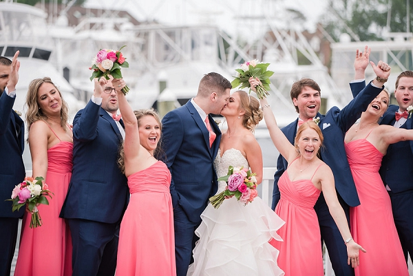 Coral pink bridesmaid dresses with spaghetti straps