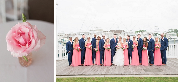 Coral pink and navy blue wedding ideas