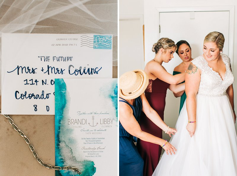 Blue watercolor wedding invitations for a colorful beach wedding