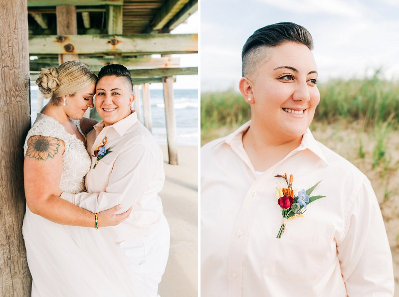 Stylish masculine of center beach bride with slicked back hair and peach shirt