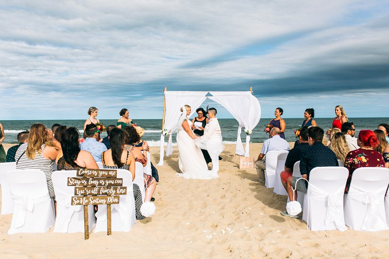Virginia Beach Oceanfront wedding for two brides and their loved ones