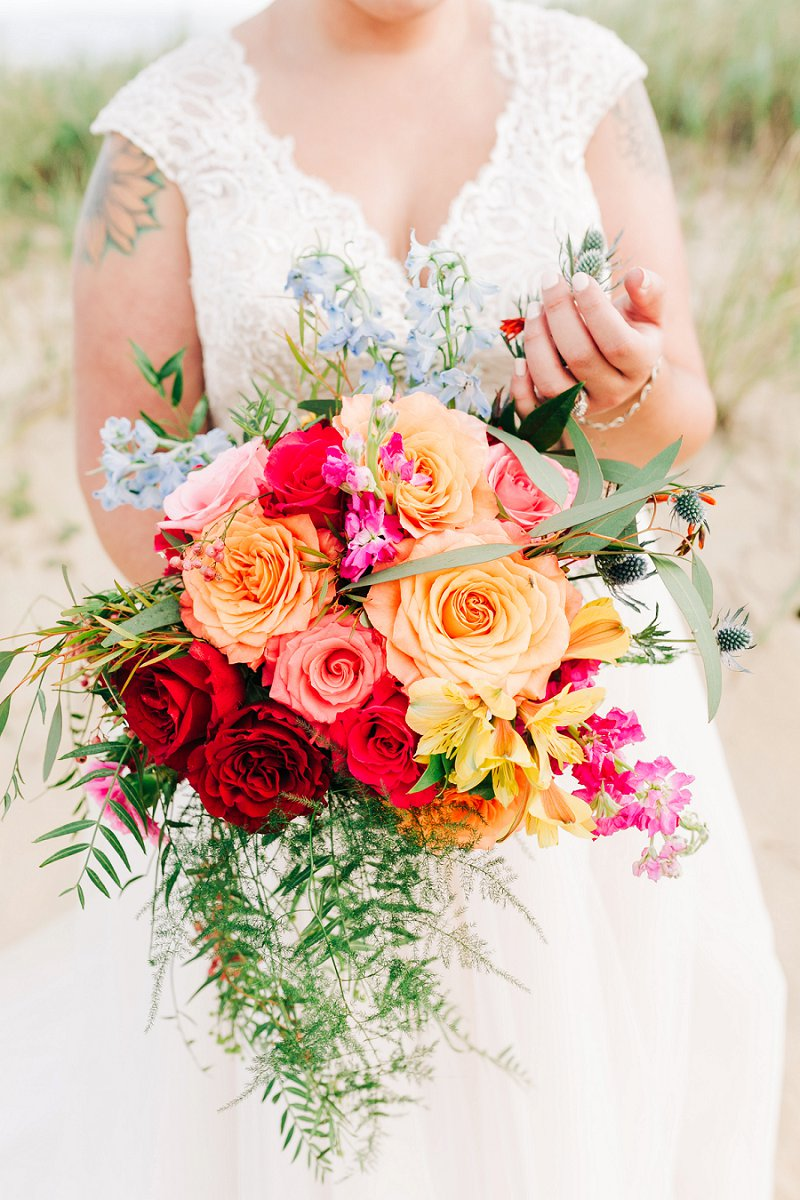 Vibrant and colorful wedding bouquet for a different kind of rainbow wedding