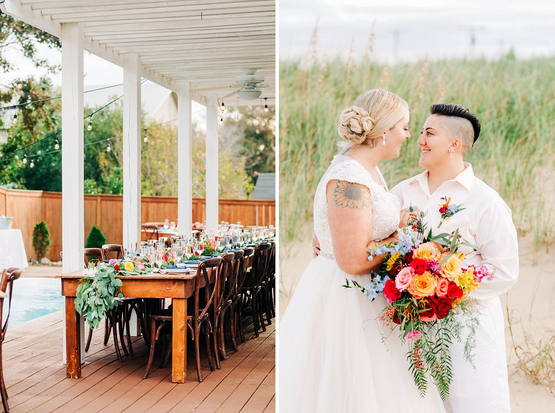 Beach house wedding in Virginia Beach with long farm tables and floral garlands