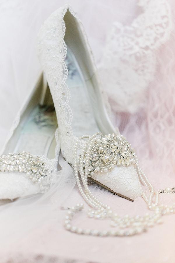 Custom embellished lace bridal shoes