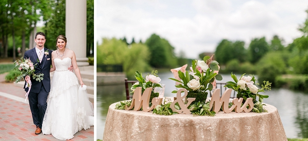 Sweetheart wedding table with sequin tablecloth overlooking the water