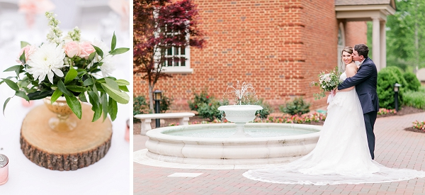 Romantic pink and white garden wedding at Founders Inn in Virginia Beach