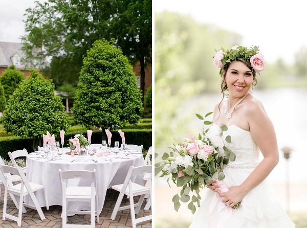 Outdoor garden wedding reception with topiaries