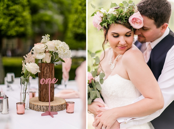 Pink wedding table numbers with rustic tree centerpiece vase