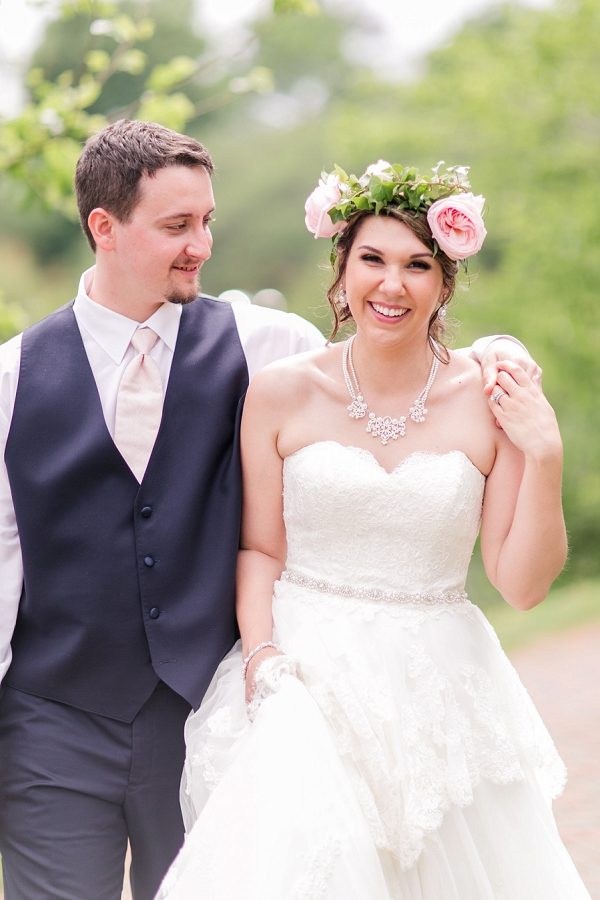 Bride with pink rose flower crown