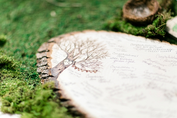 Custom wood slab for unique wedding guestbook
