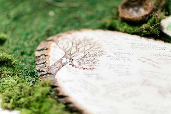 Custom wood slab for unique wedding guestbook