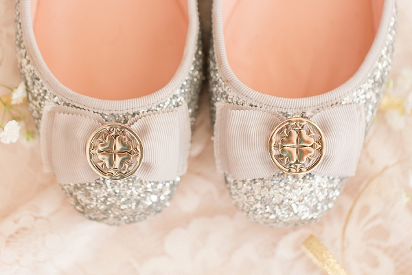 Kate Spade glitter bridal flats with bow