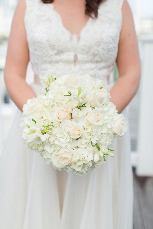 Classic all white wedding bouquet with roses and hydrangeas