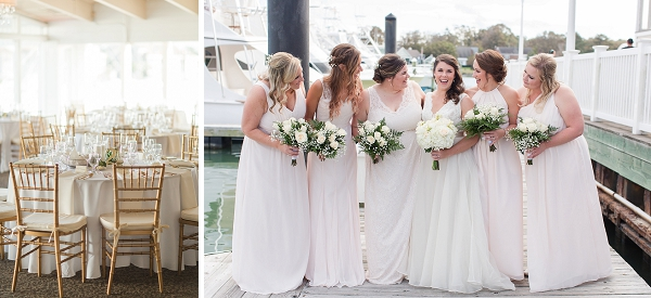 Bridesmaids in blush chiffon dresses