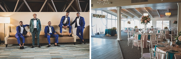 Dapper bridesmen in blue tuxedos