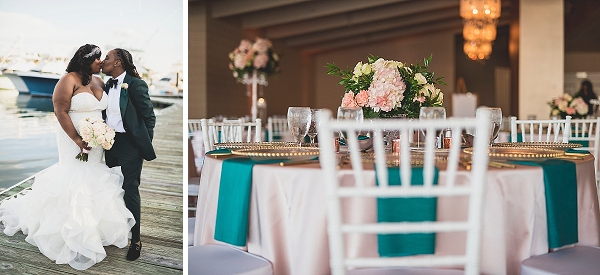 Teal wedding napkins