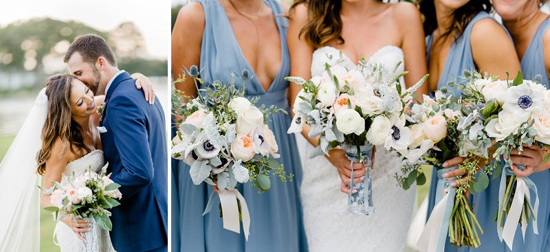 Classic white wedding bouquets with anemones and blue ribbons