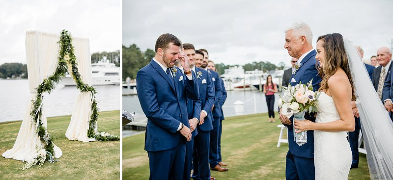 Classic wedding ceremony along the water at the Cavalier Golf and Yacht Club in Virginia Beach