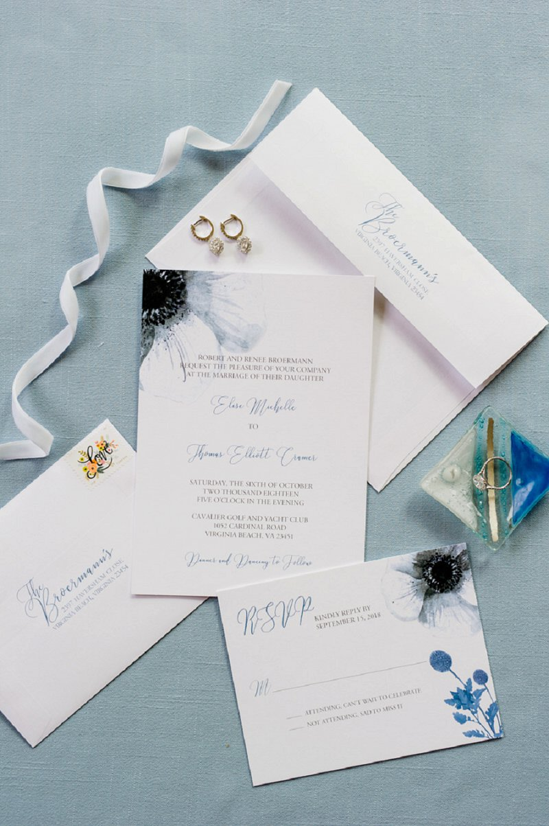 Blue watercolor wedding invitation suite with anemone and classic font