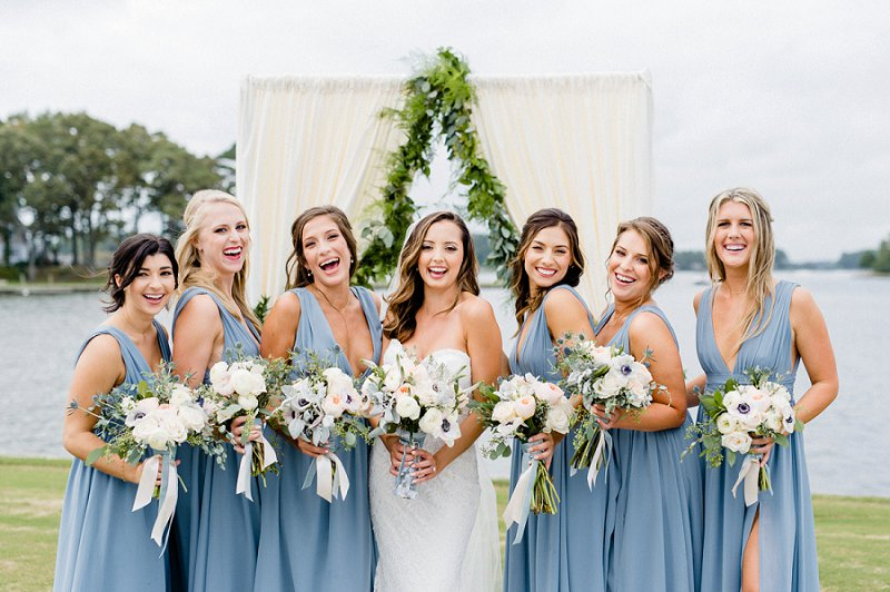 Dusty blue bridesmaid dresses for a waterside wedding in Coastal Virginia