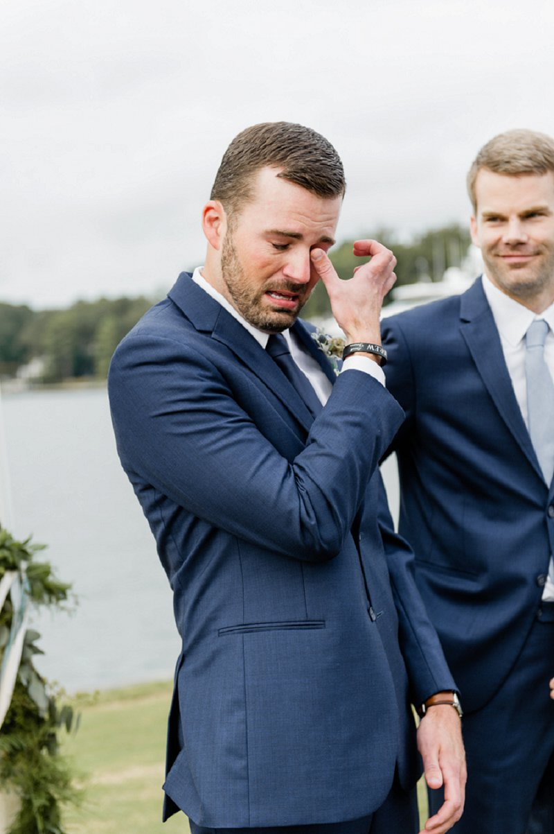 Emotional moment of groom as he sees his bride for the first time