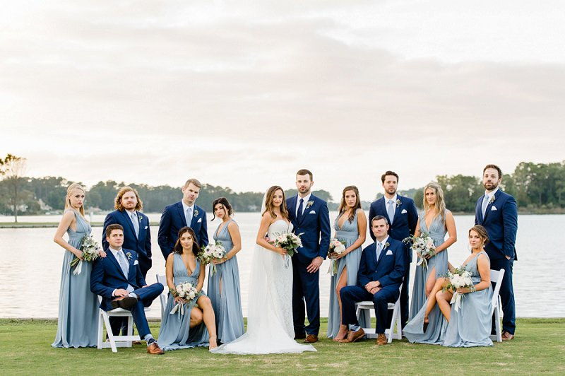Fun and unique wedding portrait idea with bridesmaids and groomsmen