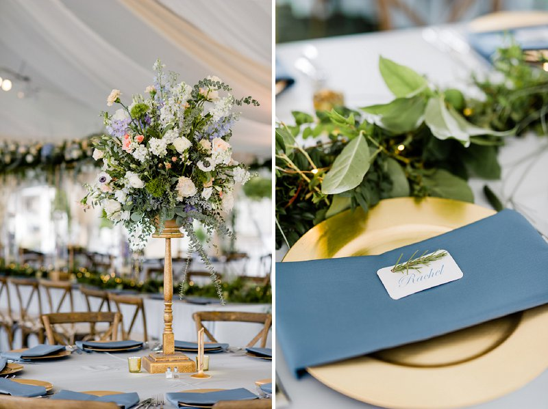 Classic blue waterside wedding with tall wedding flower centerpieces at the Cavalier Golf and Yacht Club in Virginia Beach