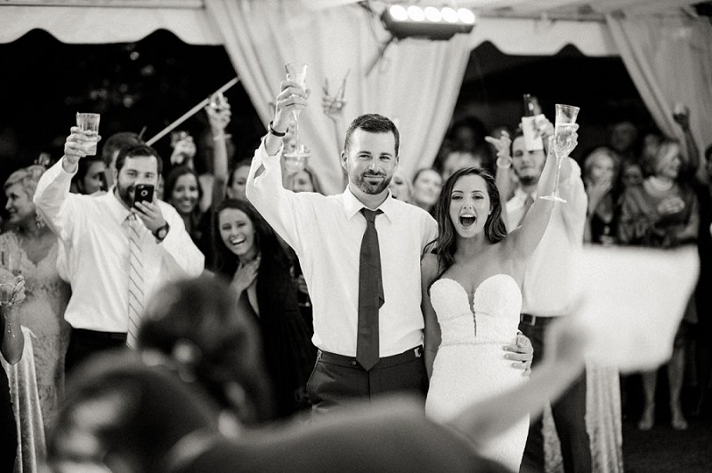 Black and white wedding toast portrait at the Cavalier Golf and Yacht Club in Virginia Beach