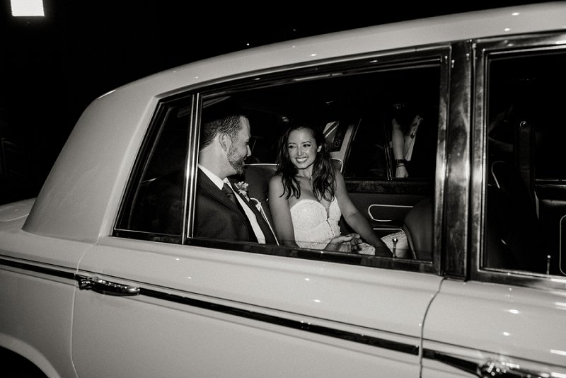 Classic wedding getaway car at Cavalier Golf and Yacht Club