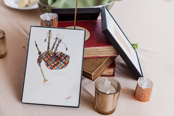 Hand painted bagpipes illustration for vintage and musical wedding centerpiece idea