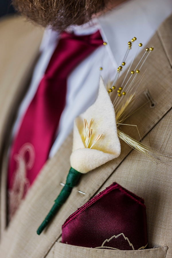 Felt flower boutonniere for handmade wedding